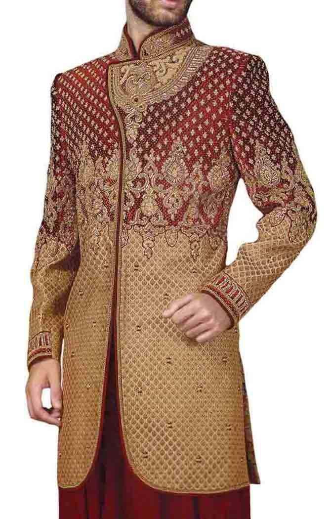INMONARCH Mens Beige Maroon Indowestern 2 Pc Concealed Button IN510S46 46 Short Beige
