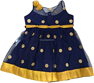 Pattu Pavadai Navy Blue and Golden Netted Frock for Just Born Indian Baby Girls and Kids
