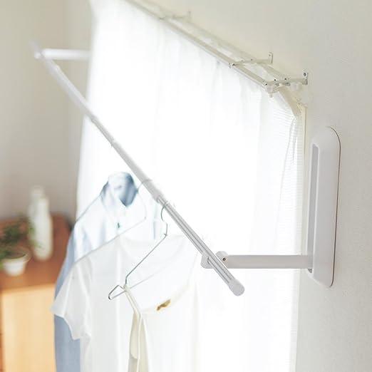 Amazon.co.jp : [ベルメゾン] 物干し 室内 壁付け ピンで設置 日本製 ...