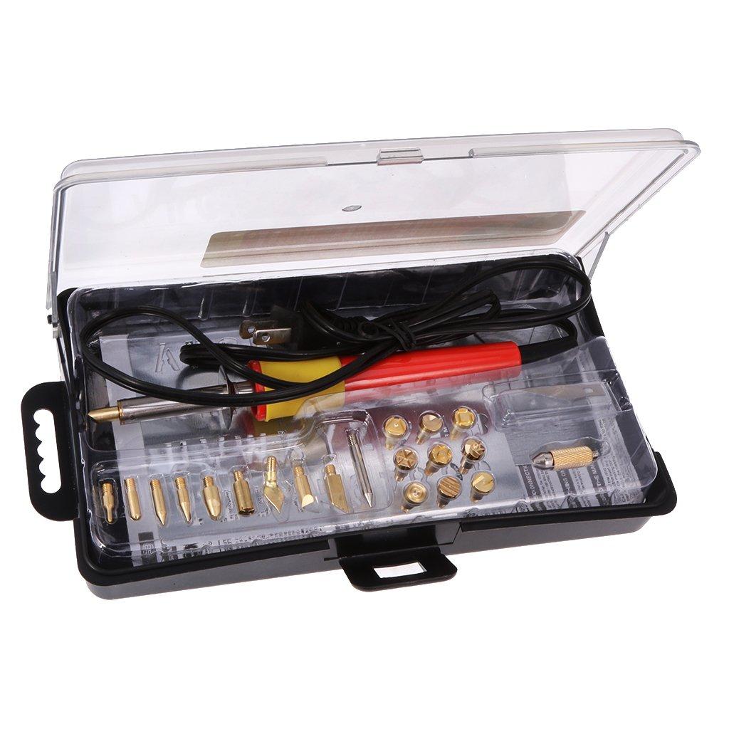 Jili Online 24pcs/set 110V 30W Wood Burning Pen Soldering Tips Sets Pyrography Kit