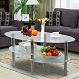 Yaheetech 3 Tier Modern Living Room Oval Glass Coffee Table Round Glass Side End Tables with Chrome Finish Legs Cocktail Table
