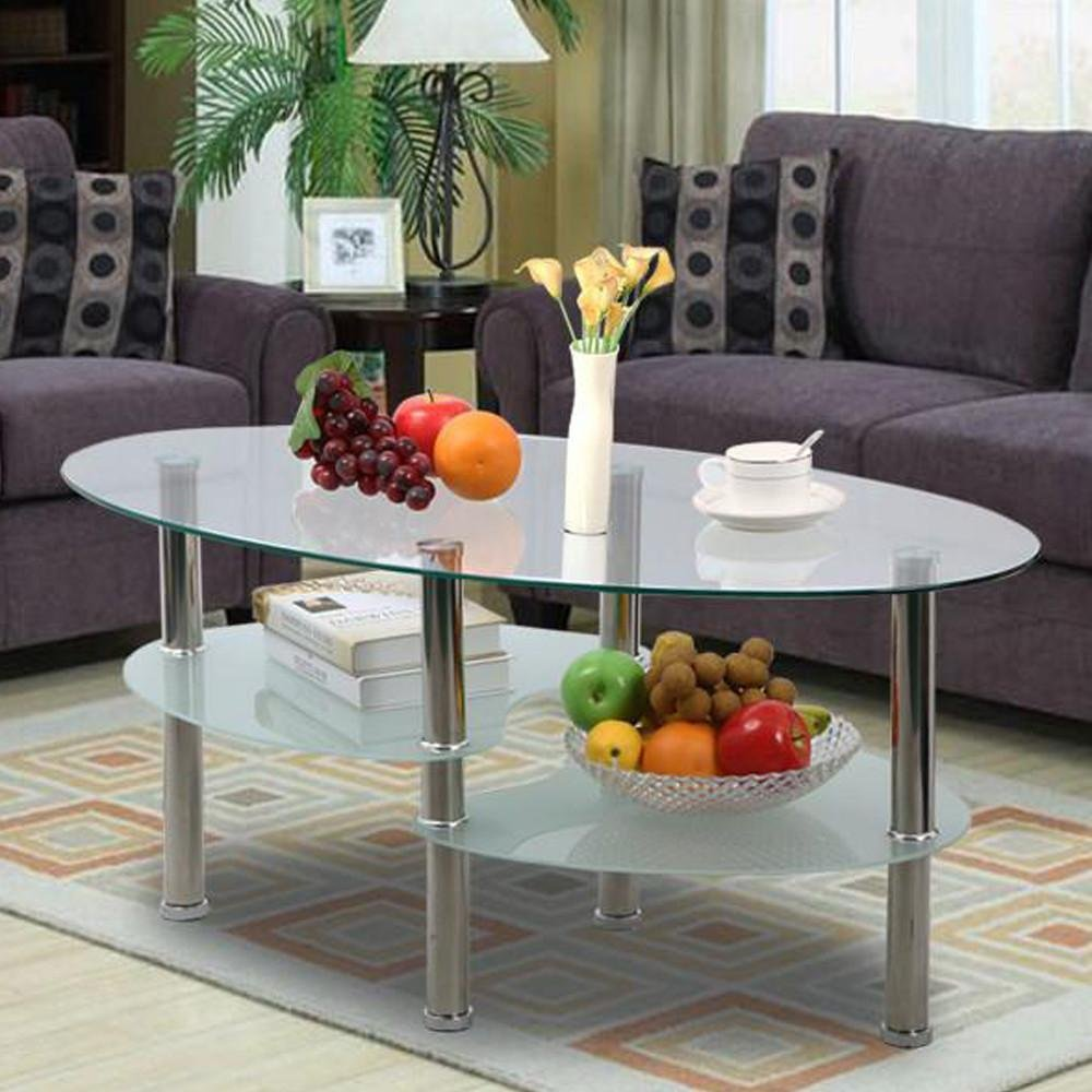 Amazon.com: Yaheetech 3 Tier Modern Living Room Oval Glass Coffee Table  Round Glass Side End Tables With Chrome Finish Legs Cocktail Table: Kitchen  U0026 Dining Part 67