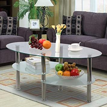 Amazon.Com: Yaheetech 3 Tier Modern Living Room Oval Glass Coffee