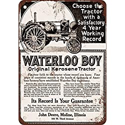 1918 John Deere Waterloo Boy Tractor Vintage Look Reproduction Metal Tin Sign 8X12 Inches