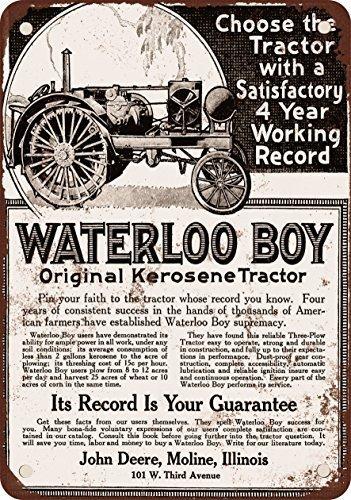 1918 John Deere Waterloo Boy Tractor Vintage Look Reproduction Metal Tin Sign 8X12 Inches