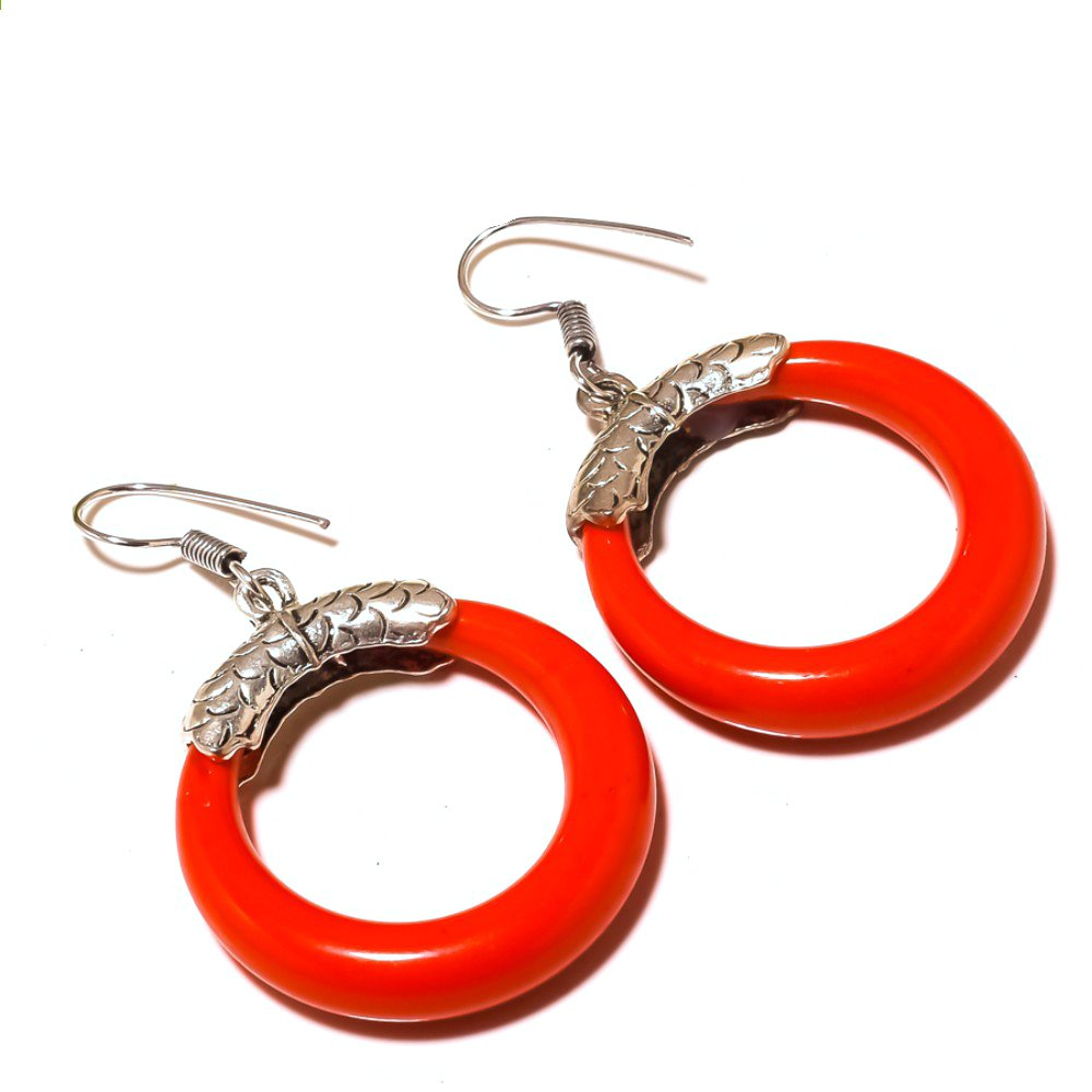 Fancy Red O Ring Sterling Silver Overlay 14 Grams Earring 2.25 Indian Jewelry Handmade