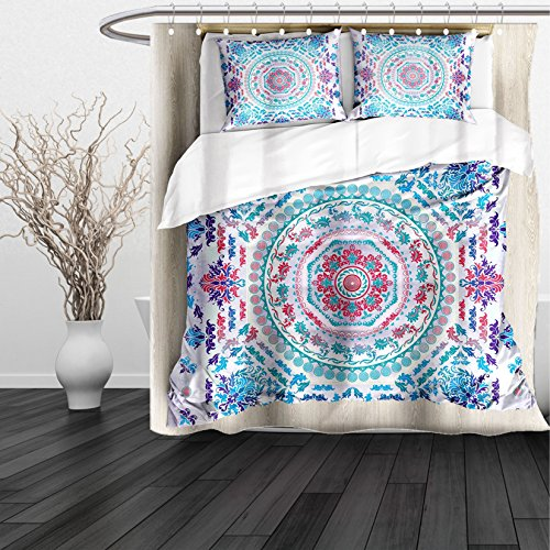 Kansas Jayhawks Stained Glass (HAIXIA Shower Curtain Mandala Medallion Design Floral Patterns and Leaves Boho Hippie Style Prints Turquoise Pink and Purple)