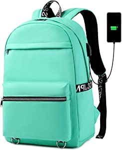 Backpack for Women Girls School Laptop Bookbags 15 Inch USB Computer Bags with Luggage Strap College Teacher Work (Mint Green)
