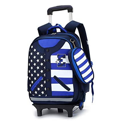 b17334f73284 Amazon.com: Geromg 2/6 Wheels Children School Bags Trolley Backpacks ...