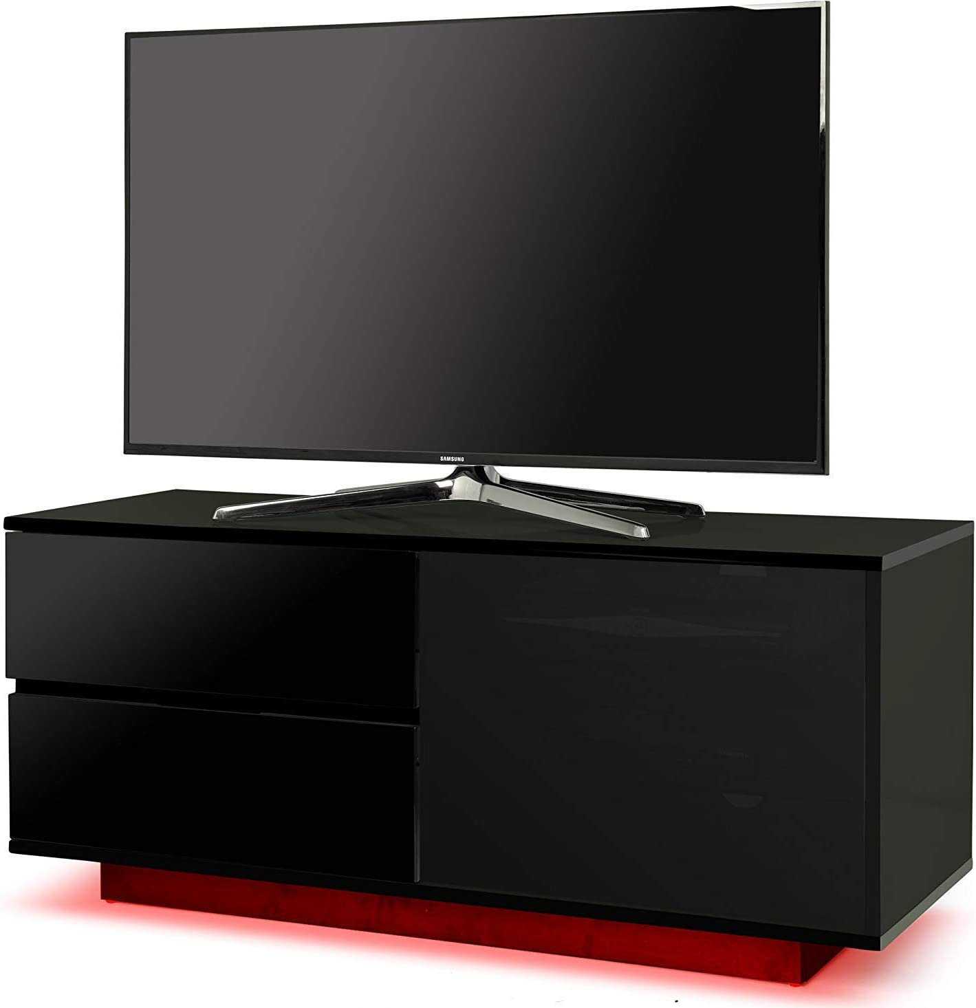 Centurion Supports Gallus ULTRA Remote Friendly Beam-Thru Premium High Gloss Black with 2-Black Drawers /& 3-Shelf 32-55 LED//OLED//LCD TV Cabinet with 16 colour LED Lights
