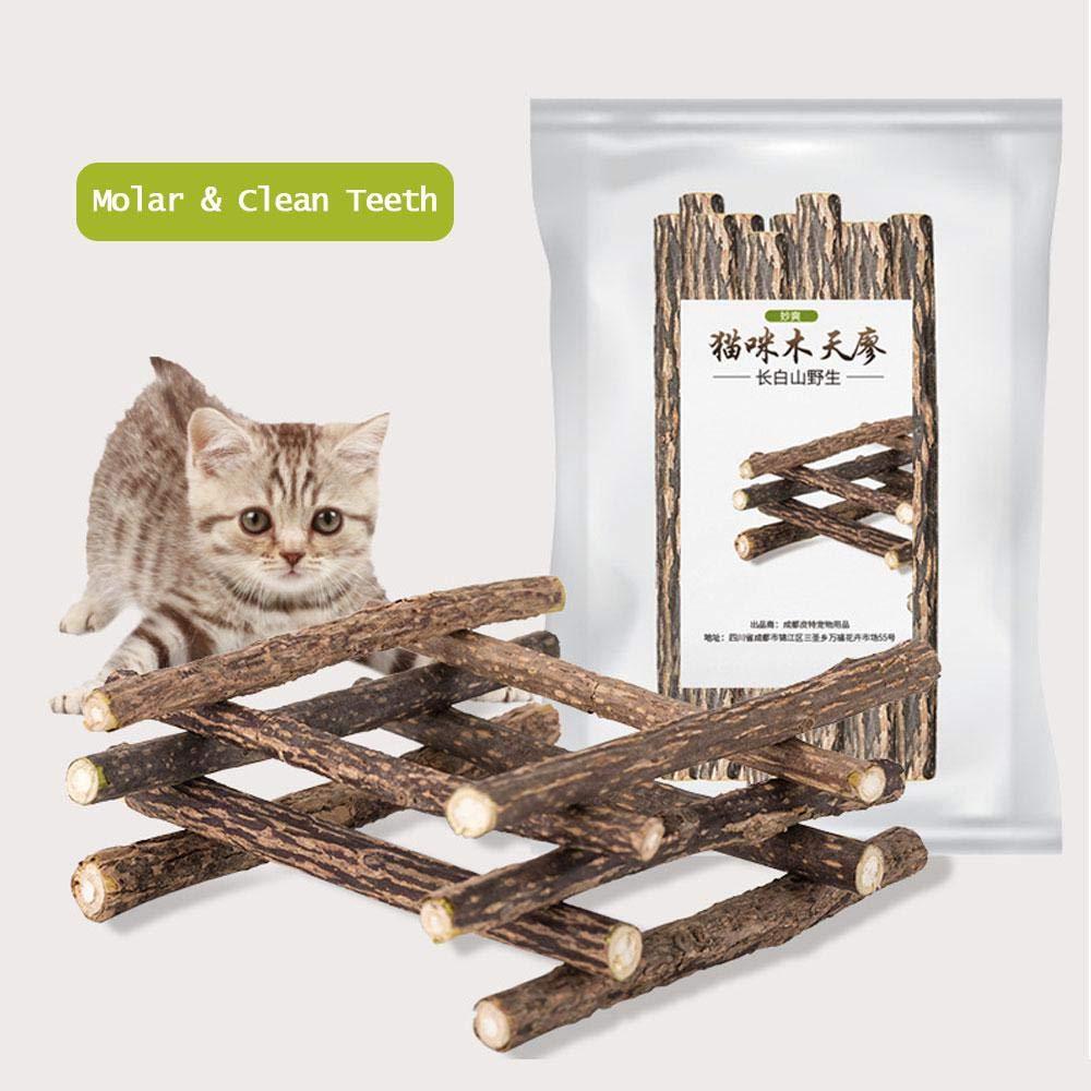 Aolvo clés Matatabi, 10pcs Chat à mâcher Bâtons Argent Vigne clés dentaire, herbe à chat Molaire Stick, chat de dents dentaire, clés Silvervine Snacks friandises, nettoyage des dents jouet à mâcher pour chat Kitty chaton