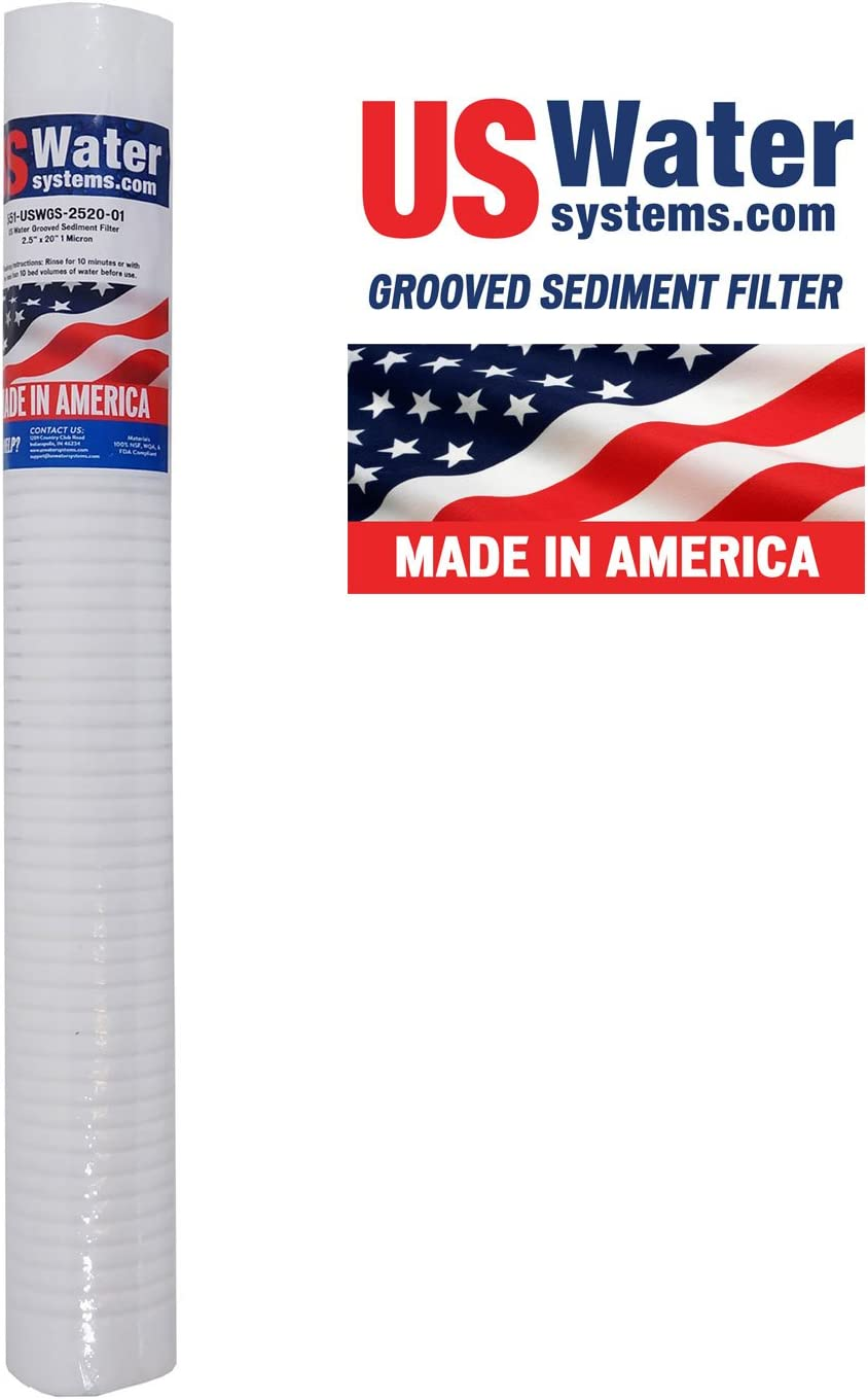 US Water Grooved Sediment Depth Filter 2.5 x 20 1 Micron USWGS-2520-01