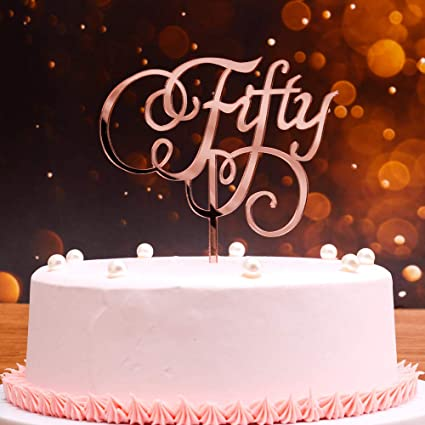 Phenomenal 50Th Birthday Gift For Women Men Fifty Birthday Cake Topper Cake Personalised Birthday Cards Veneteletsinfo