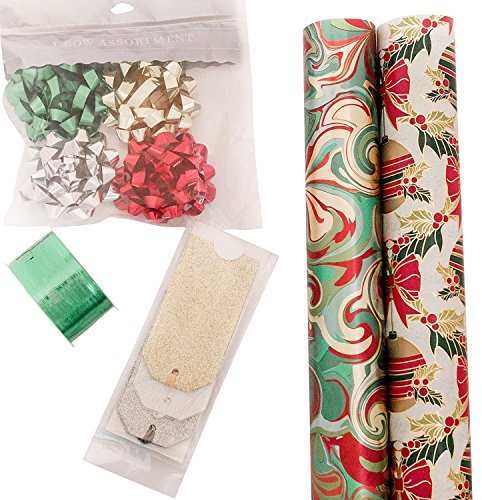 The Gift Wrap Company, Holiday Wrapping Paper Set, Elegant Swirls and Ornaments Wrap, Ribbon, Bows, and Gift Tags