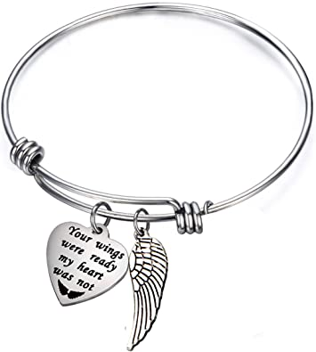 Your wings were ready my heart was not Cremation Jewelry Bracelet for Ashes Memorial Jewelry Keepsake Sympathy Gift Urn Bracelet