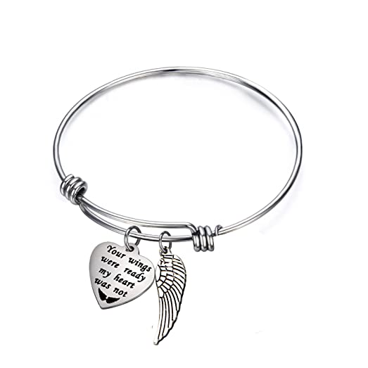 ENSIANTH Memorial Bracelet Sympathy Gift Your Wings Were Ready But My Heart Was Not Bracelet Adjustable Remembrance Bracelet wZdcgdQ