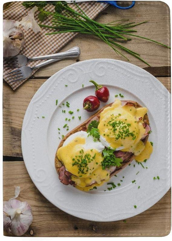 Huevos para freír Desayuno con perejil Bloqueo Estuche de la Funda del Pasaporte de impresión Estuche para Equipaje de Viaje Pasaporte Billetero Hecho con Cuero para Hombres Mujeres Niños Familia: Amazon.es: Equipaje