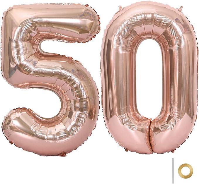 Huture 2 Globos Número 50 Figuras Globo Inflable de Helio Globos Grandes de Aluminio Mylar Globos Oro Rosa Gigantes Número Globos 40 Pulgadas para Fiesta de Cumpleaños decoración graduación XXL 100cm