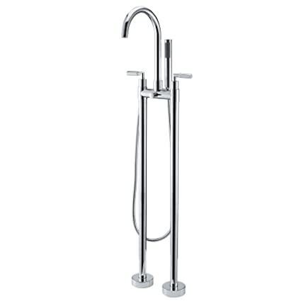 Kunmai Floor Mounted Claw Foot Tub Faucet With Handshower Double