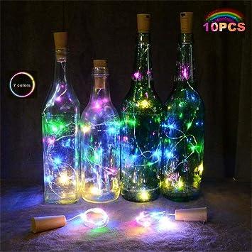 10 PCS luz de Botella Botella de luz 2M Siete Colores Vino Botella ...