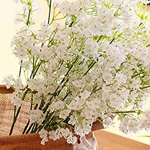 12pcs Artificial flowers Gypsophila Baby's Breath Bouquet Silk Baby Breath Flowers for Home Wedding Party Decorations Pretty Flowers 2