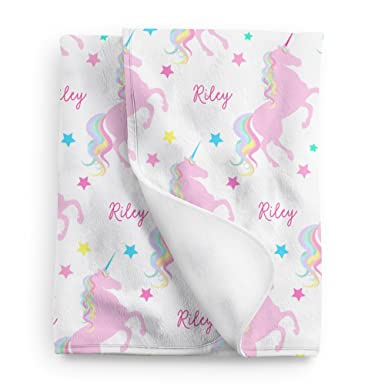 25c888b011 Image Unavailable. Image not available for. Color  Personalized Unicorn  Fleece Baby Blanket ...
