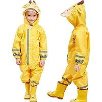Chubasquero para Niños, Mono para Niños Impermeable Encapuchado Resistente a La Lluvia 3-5 años,Amarillo