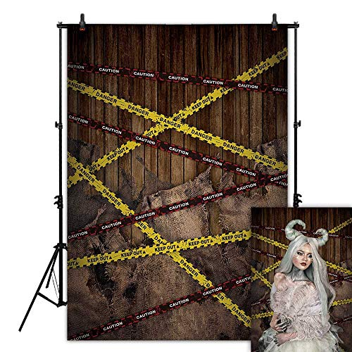 Funnytree 7X5FT Durable Fabric Warning Line Photography Backdrop for Halloween Dress Up Party Selfie Photo Background Police Danger Sign Wood Banner Scary Night Do Not Cross Photocall photobooth]()