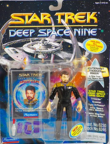 STAR TREK 1994 - Playmates / Paramount Pictures Deep Space Nine - Lt. Thomas Riker in Starfleet Uniform - Numbered Action Figure - with Space Caps - OOP - MOC - Collectible -
