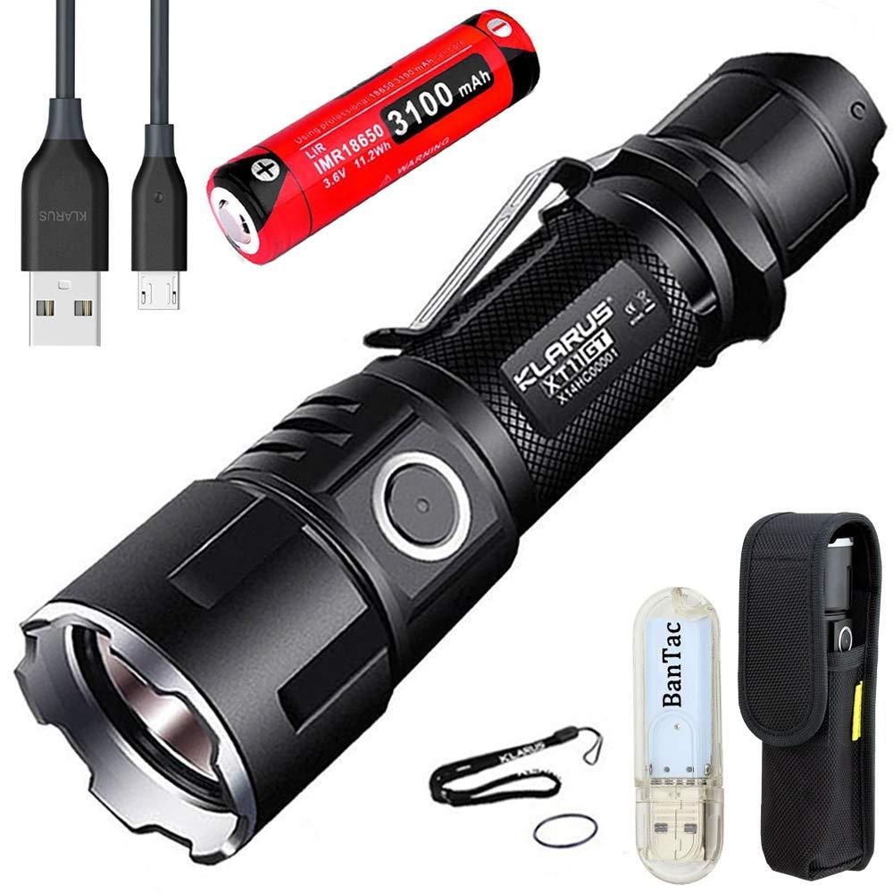 Klarus XT11GT Taktische Taschenlampe CREE XPH35 HD E4 LED Maximale Ausgabe 2000 Lumen Max Strahlabstand 316 Meter USB Wiederaufladbare Taschenlampen mit 18650 Akku Batterie und BanTac USB Lampe