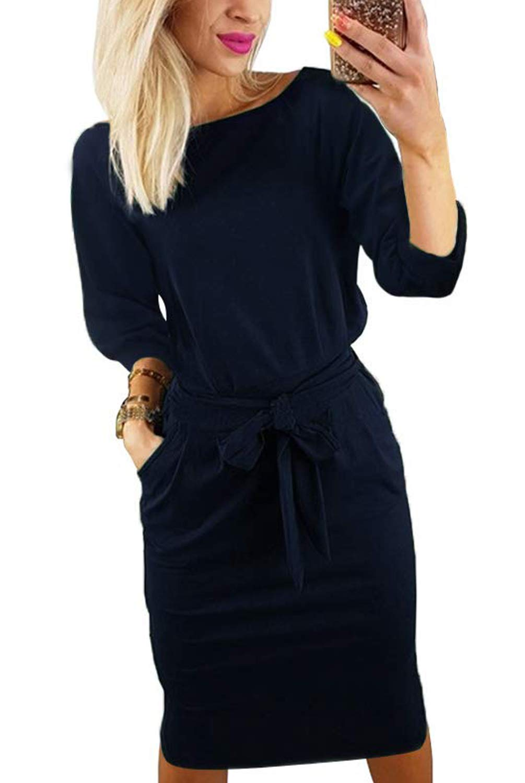 Kesujin Women's Casual Dresses Wear to Work Bussiness Office Party Bodycon Pencil Midi Dress