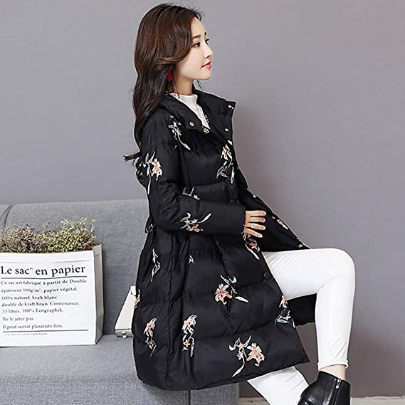 Clearence Womens Coats KpopBaby Winter Warm Outerwear Printing Long Cotton-Padded Pocket Jackets at Amazon Womens Coats Shop