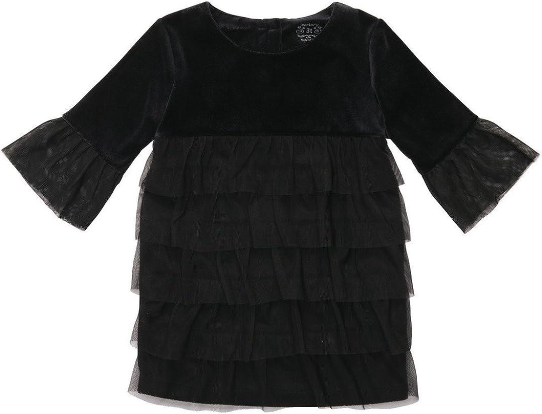 Carters Little Girls Black Velour Tiered Ruffle Tunic