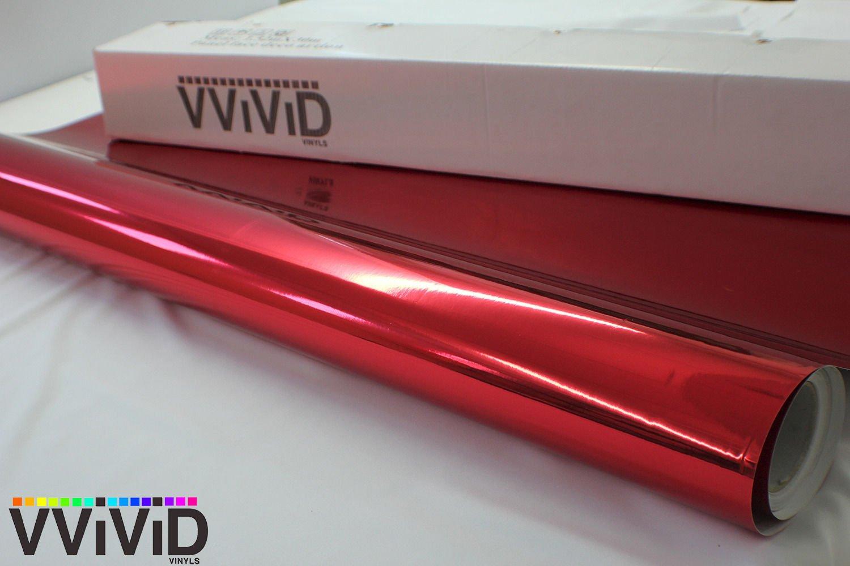 Red mirror chrome vinyl wrap 1ft x 60 self adhesive film decal air release Bubble and Air-Free 3MIL-VViViD8 VViViD Vinyls BHBAZUKAZIND2212