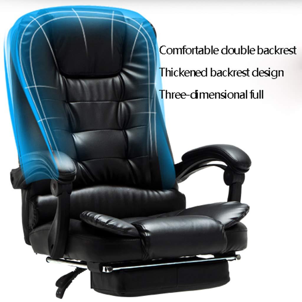Aoyo hem datorstol, kontorsstol, hiss svängbar stol, läderchef stol, bekväm vilande baksäte (färg: svart) Svart