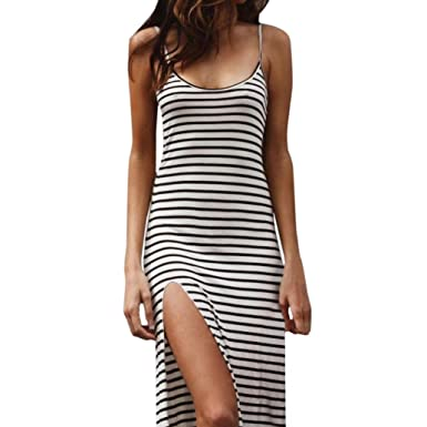 ❤Fuibo Kleid Damen, Womens Summer Beach Sleeveless Split Rock ...