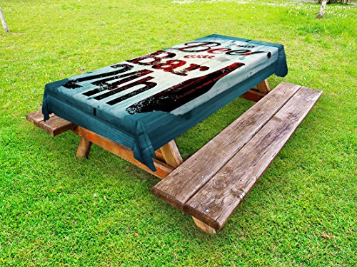 Lunarable Retro Outdoor Tablecloth, Grunge Beer Bar 24h Old Pub Sign Emblem Restaurant Graphic Design, Decorative Washable Picnic Table Cloth, 58