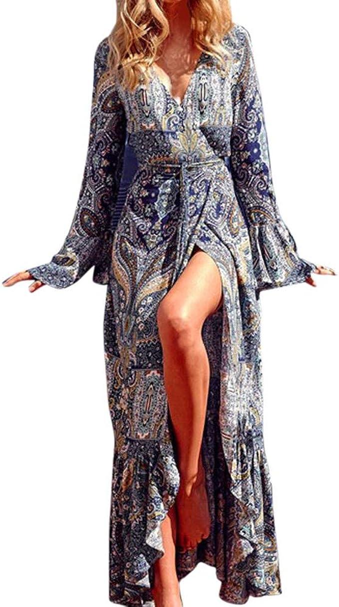 Damen Sommerkleid Lange Ärmel Maxikleid V-Ausschnitt Damen Vintage Strand  Blumen Abendkleid Strandkleid Lang mit Schlitz