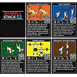 Barbell Exercise Cards by Strength Stack 52. Weight Lifting Playing Card Game. Video Instructions Included. Bodybuilding, Resistance Training, and Crossfit Workouts. Home Gym Fitness Program.