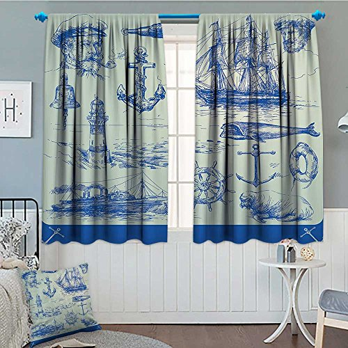 "Nautical Anchor Home Decoration Thermal Insulated Whale Sail Boat Steering Wheel and Old Lighthouse Fishing Theme Sketchy Blackout Draperies For Bedroom 72""x63"" Blue Eggshell"