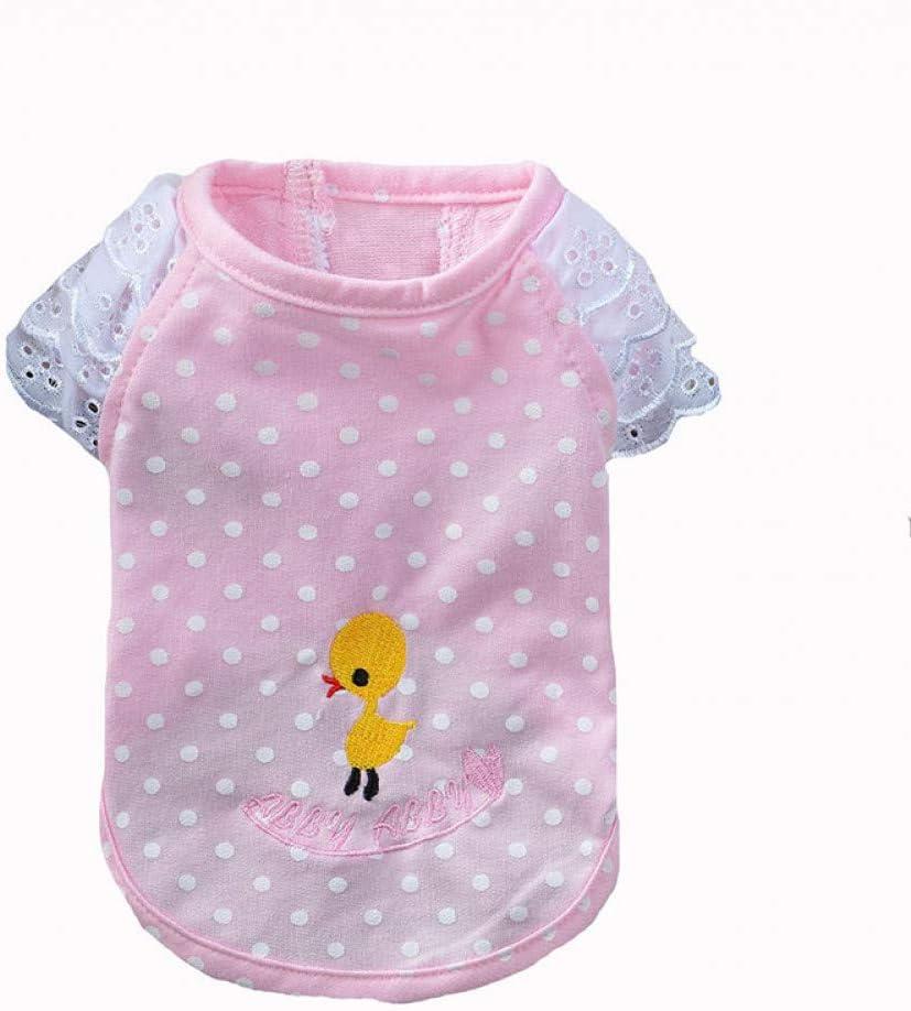FORMEG Ropa De Perro Mascotas Chaleco para Perros Polka Dot Pato Bordado Camisa para Mascotas Encaje Rotador Cuff Cat Camiseta para Chihuahua Yorkshire Ropa De Verano