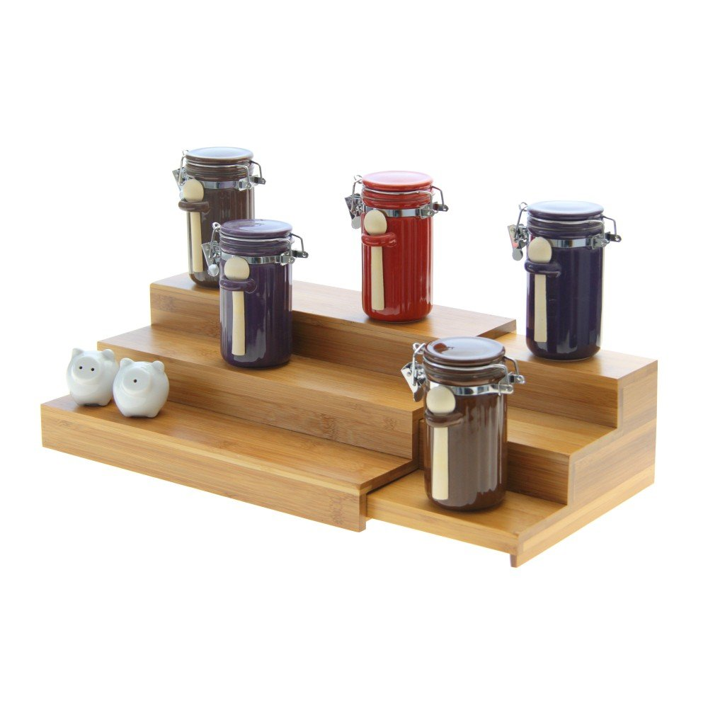 Adjustable Cupboard Organiser Spice Stepper / Serving Tray / Manicure Display. Made of Natural Bamboo Woodquail