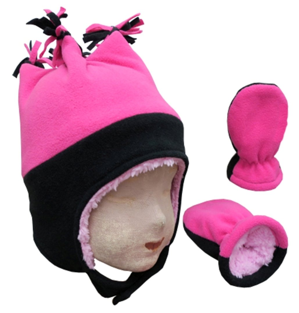 N'Ice Caps Little Girls and Baby 4 Corner Sherpa Lined Fleece Snow Hat Mitten Set (3-6 Months, Black/Fuchsia Infant)