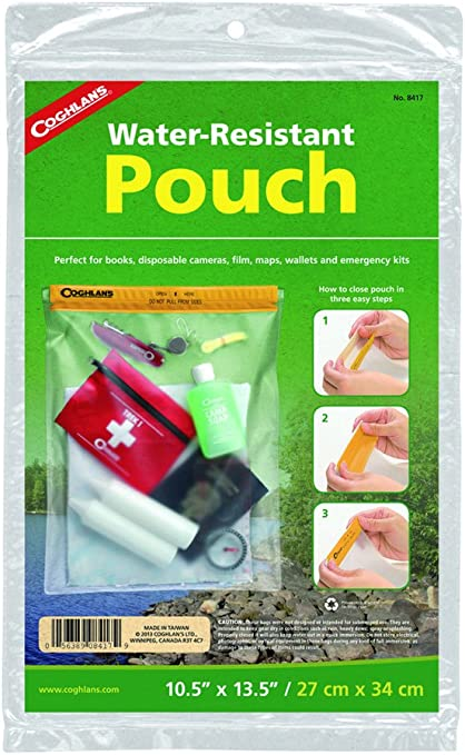 """Coghlan/'s Water Resistant Pouch 7/"""" x 10/"""" Medium Vinyl Pack for Boating Camping"""