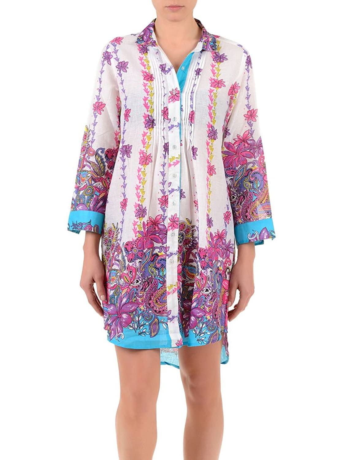 Iconique IC7-053 Women's White Pink Blue Floral Camisole Beach Dress