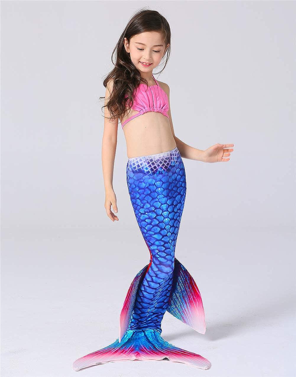 YISHU Meerjungfrauenflosse zum Schwimmen Kinder Erwachsene Kost/üm Meerjungfrauenschwanz f/ür M/ädchen und Damen Muster-B Erwachsene M