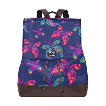 Lightweight Leather Backpack Owl Pattern Durable Personalized Fashion Daypack Handbag