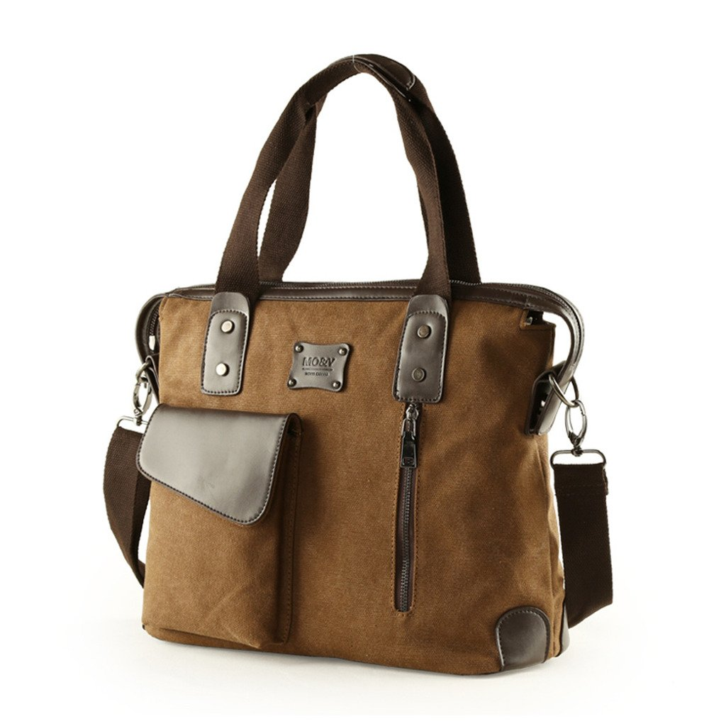 Gumstyle New Men Vintage Canvas Leather Business Handbag Messenger Briefcase Shoulder Bag