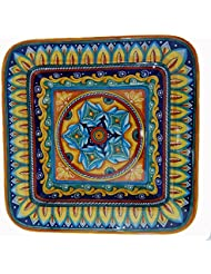 Geometrico Hand Painted Italian Ceramic Large Square Plate Platter Made In Italy
