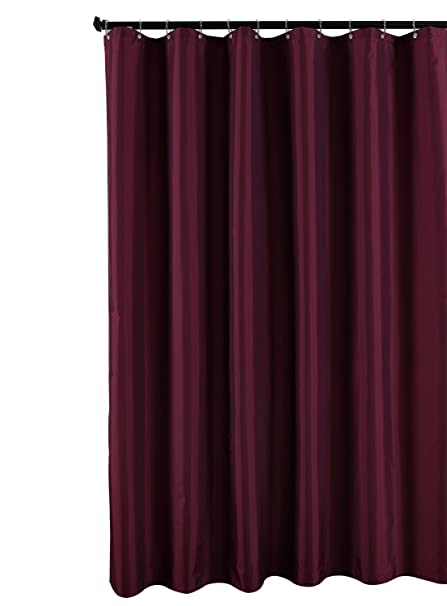 Biscaynebay Fabric Shower Curtain Liner Waterproof Water Resistant Bathroom Set Burgundy Wine